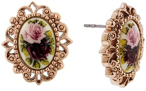 1928 Gold Tone Floral Stud Earrings