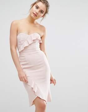 Elise Ryan Midi Pencil Dress With Frill Detail