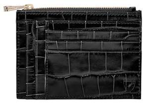 Aspinal of London Double Sided Zipped Card Coin Holder In Deep Shine Black Croc