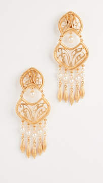 Ben-Amun Clip On Earrings with Glass Pearl Drops