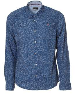Napapijri Men's White/blue Cotton Shirt.