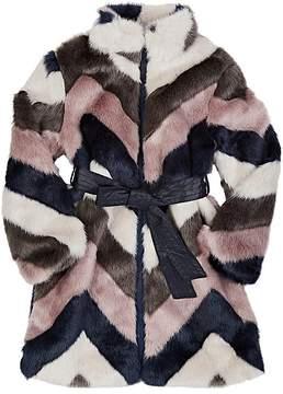 Imoga Chevron-Pattern Faux-Fur Coat