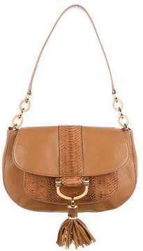 Michael Kors Snakeskin & Leather Tonne Shoulder Bag - BROWN - STYLE