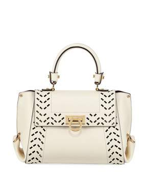 Salvatore Ferragamo Cutout Leather Top Handle Bag, White