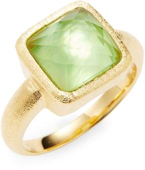 Rivka Friedman Women's 18K Gold, Green Crystal & Mother-Of-Pearl Square Ring