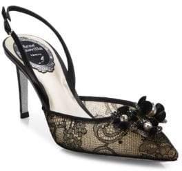 Rene Caovilla Embellished Lace & Snakeskin Slingbacks