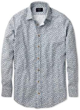 Charles Tyrwhitt Slim Fit Sky Blue Leaf Print Cotton/linen Casual Shirt Single Cuff Size XS