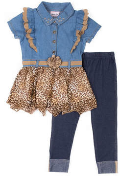 Little Lass Cheetah Print Legging Set - Preschool Girls