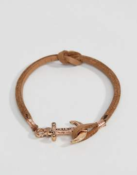 ICON BRAND Anchor Leather Bracelet In Tan