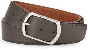 Neiman Marcus Simonnot Godard Reversible Leather Belt, Gray to Light Brown