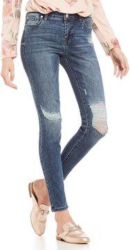 Celebrity Pink Destructed Recycled Denim Ankle Skinny Jeans