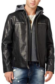 GUESS Mens Heathered Faux-Leather Jacket Black 2XL