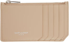 Saint Laurent Beige 5 Fragments Zip Card Holder - BEIGE - STYLE