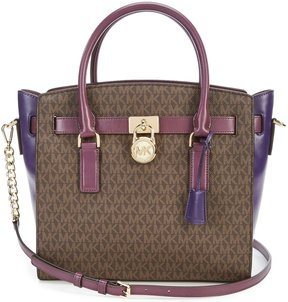 MICHAEL Michael Kors Hamilton Chain-Strap Colorblocked Signature Large Satchel - BROWN/DAMSON/IRIS - STYLE