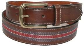 Tommy Hilfiger Men's Leather Contrast Stitch Stripe Inlay Belt, 38, Tan