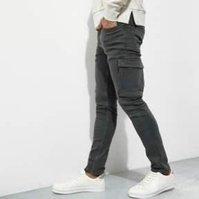 River Island Mens Khaki green cargo skinny fit jeans
