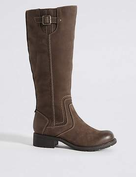 Marks and Spencer Leather Block Heel Side Zip Knee High Boots