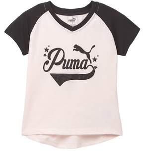 Puma Short Sleeve V-Neck Tee (Little Girls)