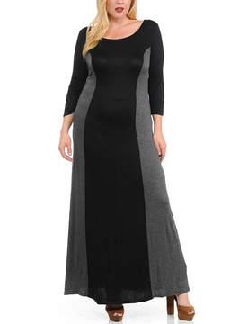 Celeste Black & Charcoal Color Block Maxi Dress - Plus