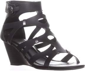 XOXO Sarabeth Gladiator Wedge Sandals, Black.