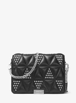 Michael Kors Jade Studded Quilted-Leather Clutch - BLACK - STYLE