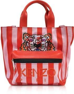Kenzo Flamingo Pink Stripe Canvas Tote Bag
