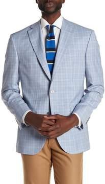 David Donahue Blue Plaid Two Button Notch Lapel Wool Classic Fit Sport Coat