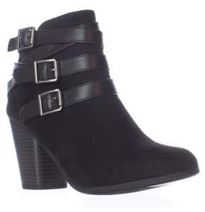 Material Girl Mg35 Minah Multi Buckle Strap Ankle Boots, Black.