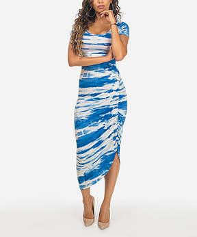 Cotton Candy Blue Tie-Dye Asymmetrical Midi Dress