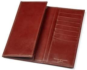 Aspinal of London Slim Breast Pocket Wallet In Smooth Cognac Espresso Suede