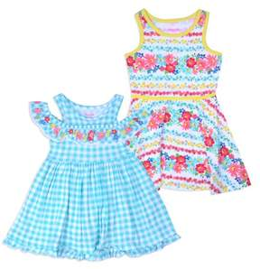 Nannette Little Girls' 4-6X Jersey Dresses 2 Pack Set