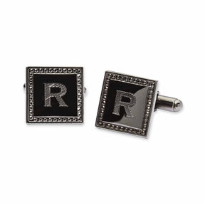 Asstd National Brand Personalized Square Gun Metal Cuff Links