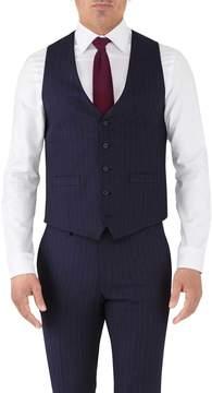 Charles Tyrwhitt Navy Stripe Adjustable Fit Flannel Business Suit Wool Vest Size w36