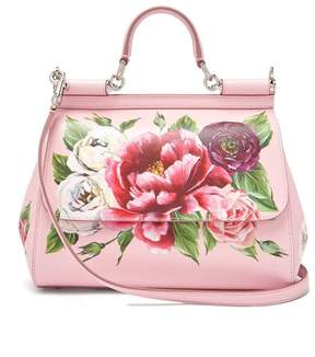 Dolce & Gabbana Sicily Small Dauphine Leather Bag - Womens - Pink White