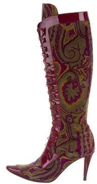 Etro Paisley Print Knee-High Boots