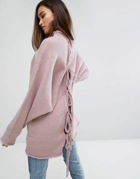 PrettyLittleThing Oversized Knitted Bow Back Sweater