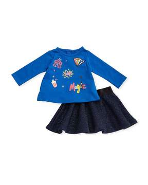 Petit Lem Circus Two-Piece Top and Skirt Set, Blue, Size 3-14 Months