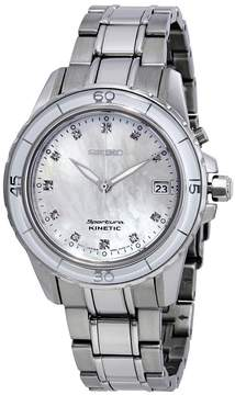 Seiko Sportura Kinetic Mother of Pearl Stainless Steel Men's Watch