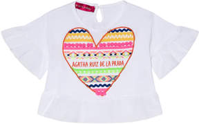 Agatha Ruiz De La Prada White Multicolour Heart Print Flow Shirt