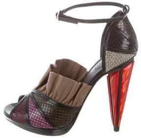 Rodarte Embossed Ruffle Sandals w/ Tags
