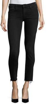 Mother Looker Ankle Skinny Jeans with Frayed Hem, Blackbird