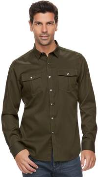 Marc Anthony Men's Slim-Fit Texture-Striped Military Button-Down Shirt