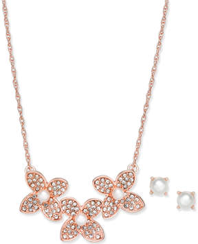 Charter Club Rose Gold-Tone Pave and Imitation Pearl Flower Statement Necklace & Stud Earrings Set, Created for Macy's
