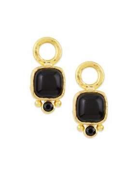 Elizabeth Locke Onyx Cabochon Earring Pendants