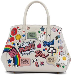 Anya Hindmarch Off-White Small All-Over Stickers Ebury II Tote
