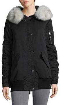 1 Madison Blue Fox Fur Trimmed Bomber Jacket