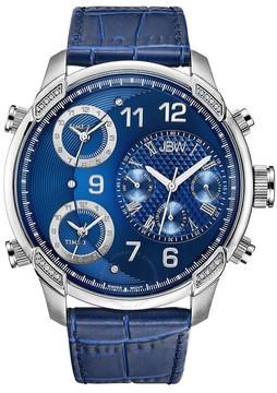 JBW G4 Blue Dial Three Time Zone Diamond Men's Watch