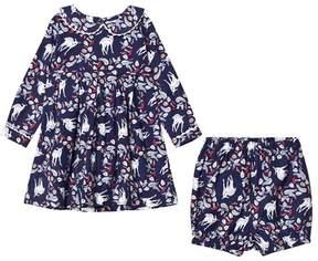 Rachel Riley Navy Deer Print Flannel Dress with Collar