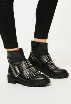 Missguided Black Studded Fringe & Buckle Biker Boots