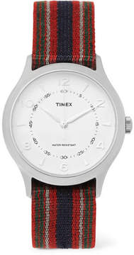 Timex Whitney Village Reversible Stainless Steel And Grosgrain Watch
